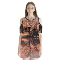 Aurora Sunset Sun Landscape Shoulder Cutout Velvet One Piece