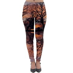 Aurora Sunset Sun Landscape Lightweight Velour Leggings by Pakrebo