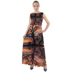 Aurora Sunset Sun Landscape Chiffon Mesh Maxi Dress