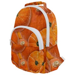 Pumpkin Halloween Fall Thanksgiving Rounded Multi Pocket Backpack