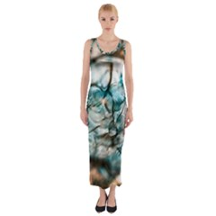 Water Forest Reflections Reflection Fitted Maxi Dress