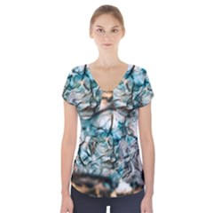 Water Forest Reflections Reflection Short Sleeve Front Detail Top