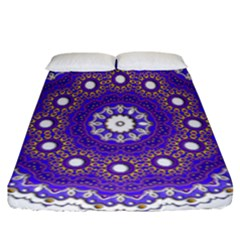 Mandala Abstract Design Pattern Blue Fitted Sheet (california King Size)
