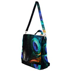 Green And Blue Peacock Feather Crossbody Backpack
