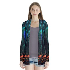 Green And Blue Peacock Feather Drape Collar Cardigan by Pakrebo