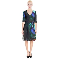 Green And Blue Peacock Feather Wrap Up Cocktail Dress