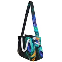Green And Blue Peacock Feather Rope Handles Shoulder Strap Bag