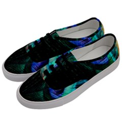 Green And Blue Peacock Feather Men s Classic Low Top Sneakers by Pakrebo