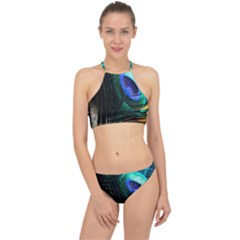 Green And Blue Peacock Feather Racer Front Bikini Set by Pakrebo