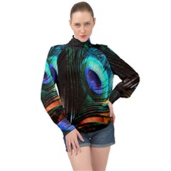 Green And Blue Peacock Feather High Neck Long Sleeve Chiffon Top by Pakrebo