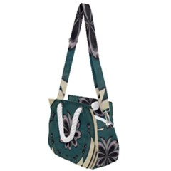Green And White Pattern Rope Handles Shoulder Strap Bag