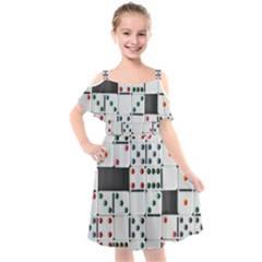 Dominos Dots Fun Kids  Cut Out Shoulders Chiffon Dress