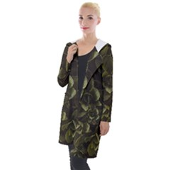 Green Leafy Plant Hooded Pocket Cardigan by Pakrebo