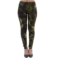 Green Leafy Plant Lightweight Velour Leggings by Pakrebo