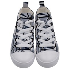 White Architectural Structure Kids  Mid Top Canvas Sneakers