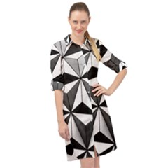 Black And White Diamond Shape Wallpaper Long Sleeve Mini Shirt Dress