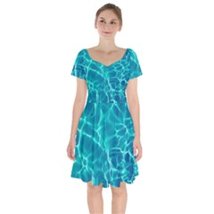 Blue Water Wallpaper Short Sleeve Bardot Dress