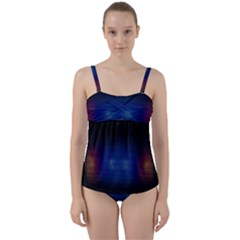Black Portable Speaker Twist Front Tankini Set