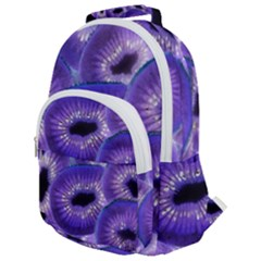 Sliced Kiwi Fruits Purple Rounded Multi Pocket Backpack