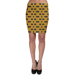 Yellow And Black Pattern Bodycon Skirt