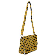 Yellow And Black Pattern Shoulder Bag With Back Zipper