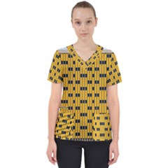 Yellow And Black Pattern Women s V Neck Scrub Top