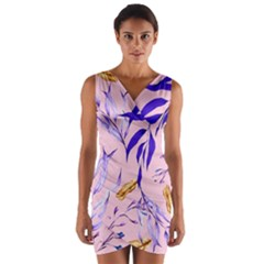 Floral Boho Watercolor Pattern Wrap Front Bodycon Dress by tarastyle