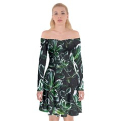 Beautiful Botanical Bright Off Shoulder Skater Dress by Pakrebo