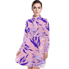 Floral Boho Watercolor Pattern Long Sleeve Chiffon Shirt Dress