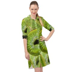 Sliced Kiwi Fruits Green Long Sleeve Mini Shirt Dress