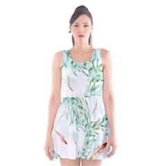 Floral Boho Watercolor Pattern Scoop Neck Skater Dress by tarastyle