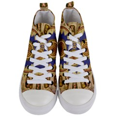 Red And White Angels Printed On Green Red And Purple Round Rug Women s Mid Top Canvas Sneakers