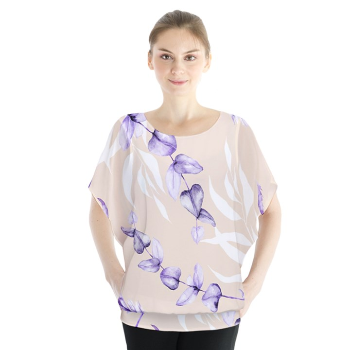 Floral Boho Watercolor Pattern Batwing Chiffon Blouse