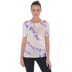 Floral Boho Watercolor Pattern Shoulder Cut Out Short Sleeve Top