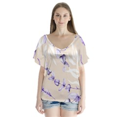 Floral Boho Watercolor Pattern V Neck Flutter Sleeve Top