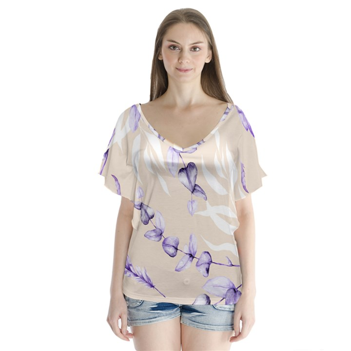 Floral Boho Watercolor Pattern V-Neck Flutter Sleeve Top