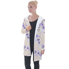 Floral Boho Watercolor Pattern Longline Hooded Cardigan