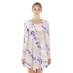 Floral Boho Watercolor Pattern Long Sleeve Velvet V Neck Dress