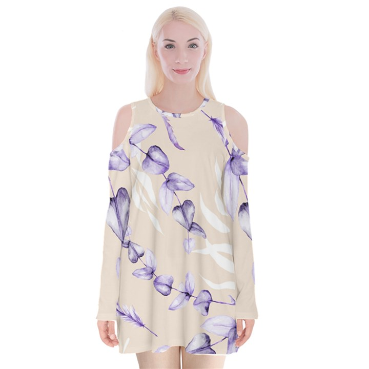 Floral Boho Watercolor Pattern Velvet Long Sleeve Shoulder Cutout Dress