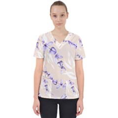 Floral Boho Watercolor Pattern Women s V Neck Scrub Top