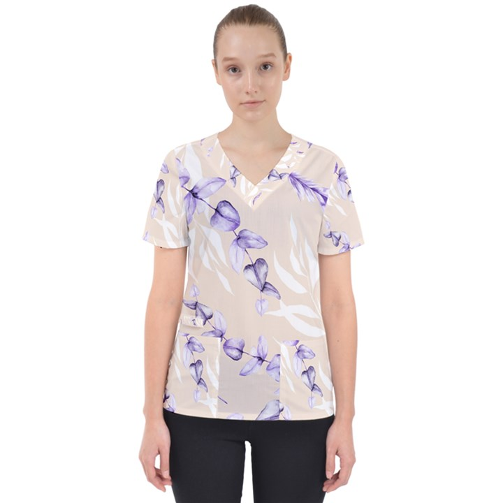 Floral Boho Watercolor Pattern Women s V-Neck Scrub Top