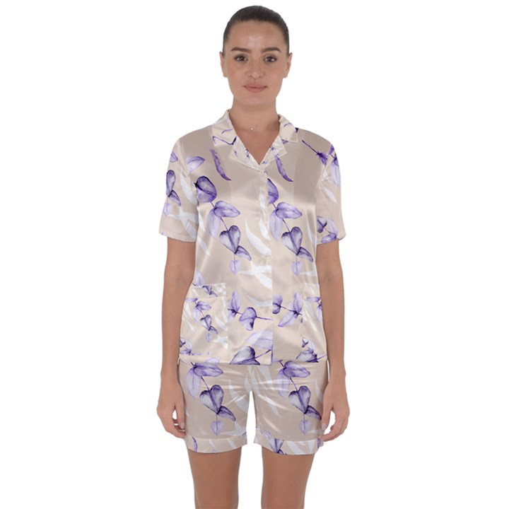 Floral Boho Watercolor Pattern Satin Short Sleeve Pyjamas Set