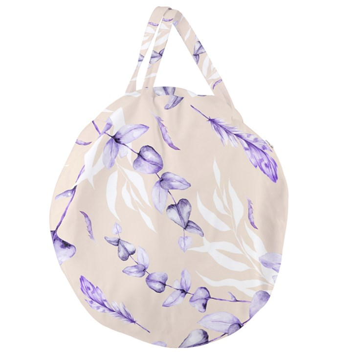 Floral Boho Watercolor Pattern Giant Round Zipper Tote