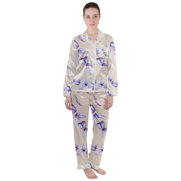 Floral Boho Watercolor Pattern Satin Long Sleeve Pyjamas Set
