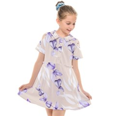 Floral Boho Watercolor Pattern Kids  Short Sleeve Shirt Dress by tarastyle