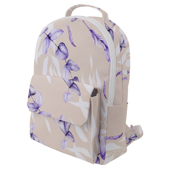 Floral Boho Watercolor Pattern Flap Pocket Backpack (Small)