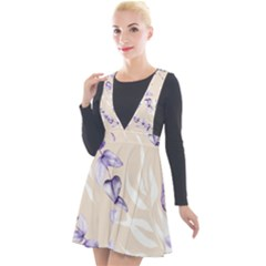 Floral Boho Watercolor Pattern Plunge Pinafore Velour Dress