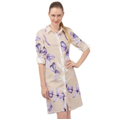 Floral Boho Watercolor Pattern Long Sleeve Mini Shirt Dress by tarastyle