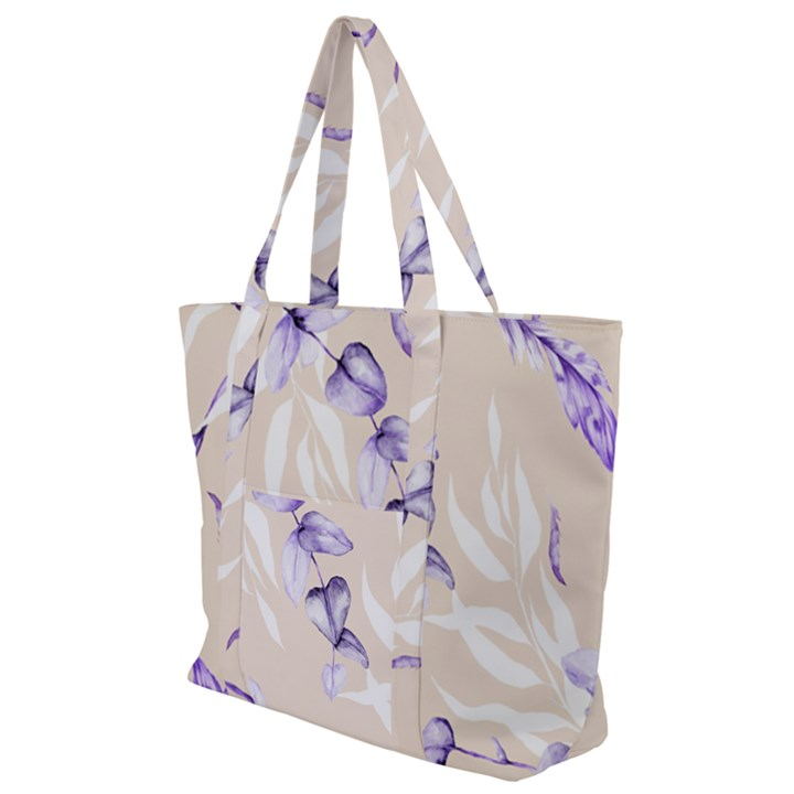 Floral Boho Watercolor Pattern Zip Up Canvas Bag