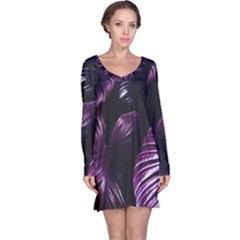 Purple Leaves Long Sleeve Nightdress